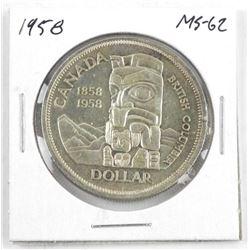 1958 Canada Silver Dollar. MS62