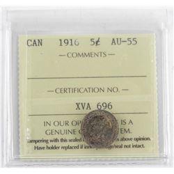 1916 Canada 5 Cent AU-55 (ICCS) (SXR)