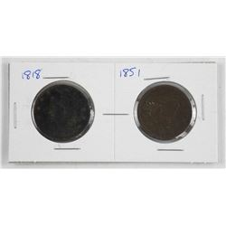 Lot (2) USA Large Cent 1818 and 1851
