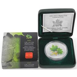 RCM 2002 .9999 Fine Silver $5.00 Coin 'Coloured Maple Leaf Green'