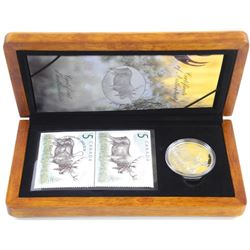 The Majestic Moose .9999 Fine Silver $5.00 Coin and Stamp Set