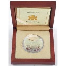 2004 .9999 Fine Silver $20.00 Coin Hologram - Aurora Borealis