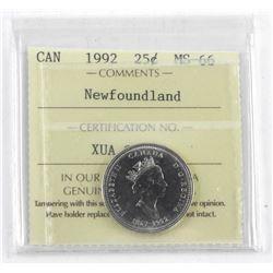 Canada 1992 - 25 Cent MS66. ICCS