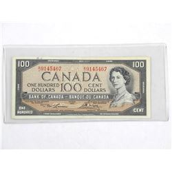 Bank of Canada 1954 One Hundred Dollar Note. Modified Portrait. L/B