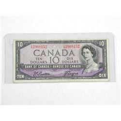 Bank of Canada 1954 Ten Dollar Modified Portrait Note. B/C