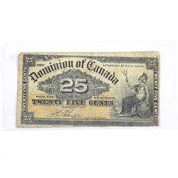 Dominion of Canada 1900 - 25 Cent Note. Boville - OFF CUT