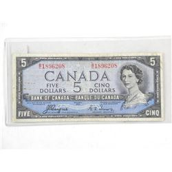 Bank of Canada 1954 Five Dollar Note. Devil's Face. C/T