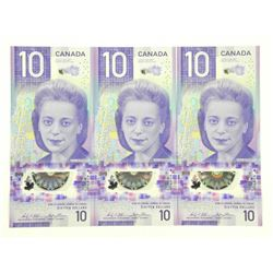 Lot (3) Bank of Canada 2018 Ten Dollar Notes. New Issues in Sequence