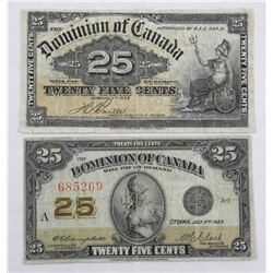 Lot (2) Dominion of Canada 1900 and 1923 Twenty Five cent Notes