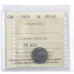 1919 Canada Silver 5 Cent. MS-62. ICCS