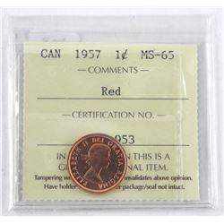 1957 Canada 1 Cent. MS-65. ICCS