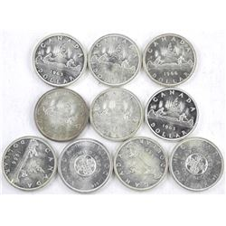Lot (10) Canada Silver Dollars, Mixed