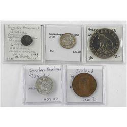 Lot (5) Estate World Coins