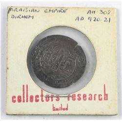 Arabian Empire 'DIRHEM' AU308 AD920-21 Silver Coin