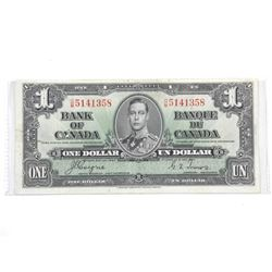 1937 Bank of Canada One Dollar Note. C/T