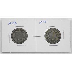 Lot (2) Victoria Canada Silver 25 Cent - 1872 - 1874