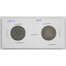 Lot (2) Victoria Canada Silver 25 Cent - 1872 - 1900