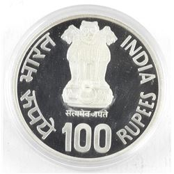 1981 B India Silver 100 Rupees Proof Coin, Year of The Child. PF65. KM#277. (SXRR)