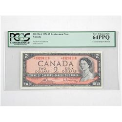Bank of Canada 1954 *Replacement 2.00 (AG) B/R UNC 64. PCGS. Covered Bridge Collection (SER)Â
