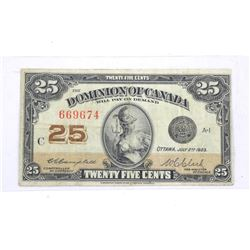 1923 Dominion of Canada Twenty Five Cent Note