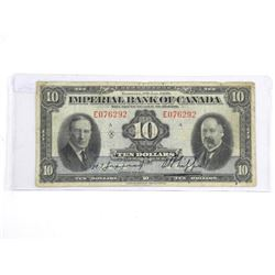 Imperial Bank of Canada Jan 1939 Ten Dollar Note