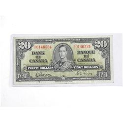 Bank of Canada 1937 Twenty Dollar Note. BC25b C/T