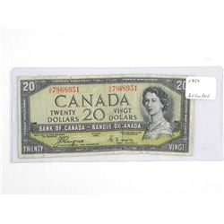 Estate Bank of Canada 1954 Twenty Dollar Note. Devil's face