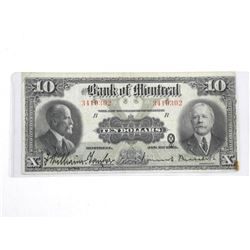 Bank of Montreal Jan 1923 Large Format Ten Dollar Note.Â