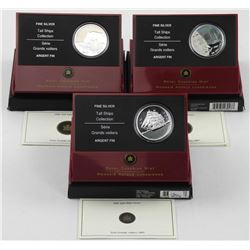 Lot (3) .9999 Fine Silver $20.00 Coins 'Tall Ships Series' LE/C.O.A.
