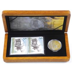 .9999 Fine Silver $5.00 Coin and 2 Mint Stamps 'The Moose' Wood Case