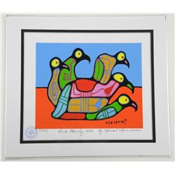 Norval Morrisseau (1931-2007) Studio Litho - LE 'Bird Family 1988' with Family Foundation Seal 11x13