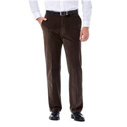 Haggar Men's 21 Wale Stretch Corduroy Expandable Waist Classic Fit Plain Front Pant- Brown- 36x31