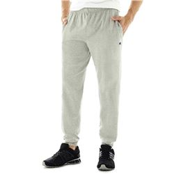 Champion Men's Closed Bottom Light Weight Jersey Sweatpant- Oxford Grey- Large