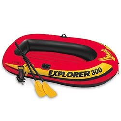 Intex Explorer 300- 3-Person Inflatable Boat Set with French Oars and High Output Air Pump