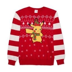Pokemon Men's Ugly Christmas Sweater- red/Black- Medium