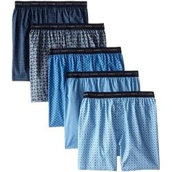 Hanes Men's 5-Pack Printed Woven Exposed Waistband Boxers- Print- X-Large