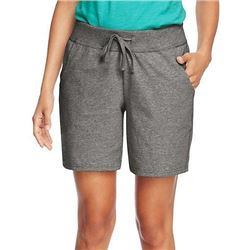 Hanes Women's Jersey Short- Charcoal Heather- Medium