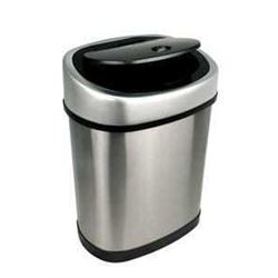 NINESTARS DZT-12-9 Automatic Touchless Motion Sensor Oval Trash Can- 3.2 Gal. 12 L- Stainless Steel