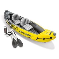 Intex Explorer K2 Kayak- 2-Person Inflatable Kayak Set with Aluminum Oars and High Output Air Pump