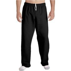 Gildan Men's Fleece Open Bottom Pocketed Pant- Black- Medium