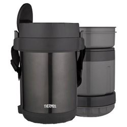 THERMOS All-In-One Vacuum Insulated Stainless Steel Meal Carrier with Spoon- Smoke