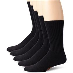 Dockers Men's 5 Pack Cushion Comfort Sport Crew Socks- Black- Shoe 6-12 Size: 10-13