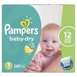 Pampers Baby Dry Disposable Diapers Size 1- Economy Pack Plus- 240 Count