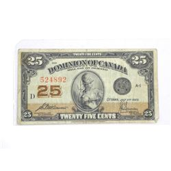Dominion of Canada 1923 Twenty Five cent Note. (F+