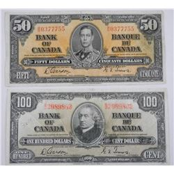 Lot (2) Bank of Canada 1937 Notes - One Hundred an