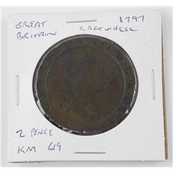 Great Britain - 1797 Cartwheel 2 Pence Coin KM 619