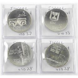 Lot (4) Israel Silver '5 Lirot' Coins 1959, 1962,