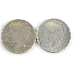 Lot (2) 1922 and 1925 USA Silver Peace Dollars