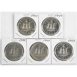 Lot (5) 1949 Canada Silver Dollar