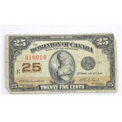 Dominion of Canada 1923 Twenty Five cent Note. (F)